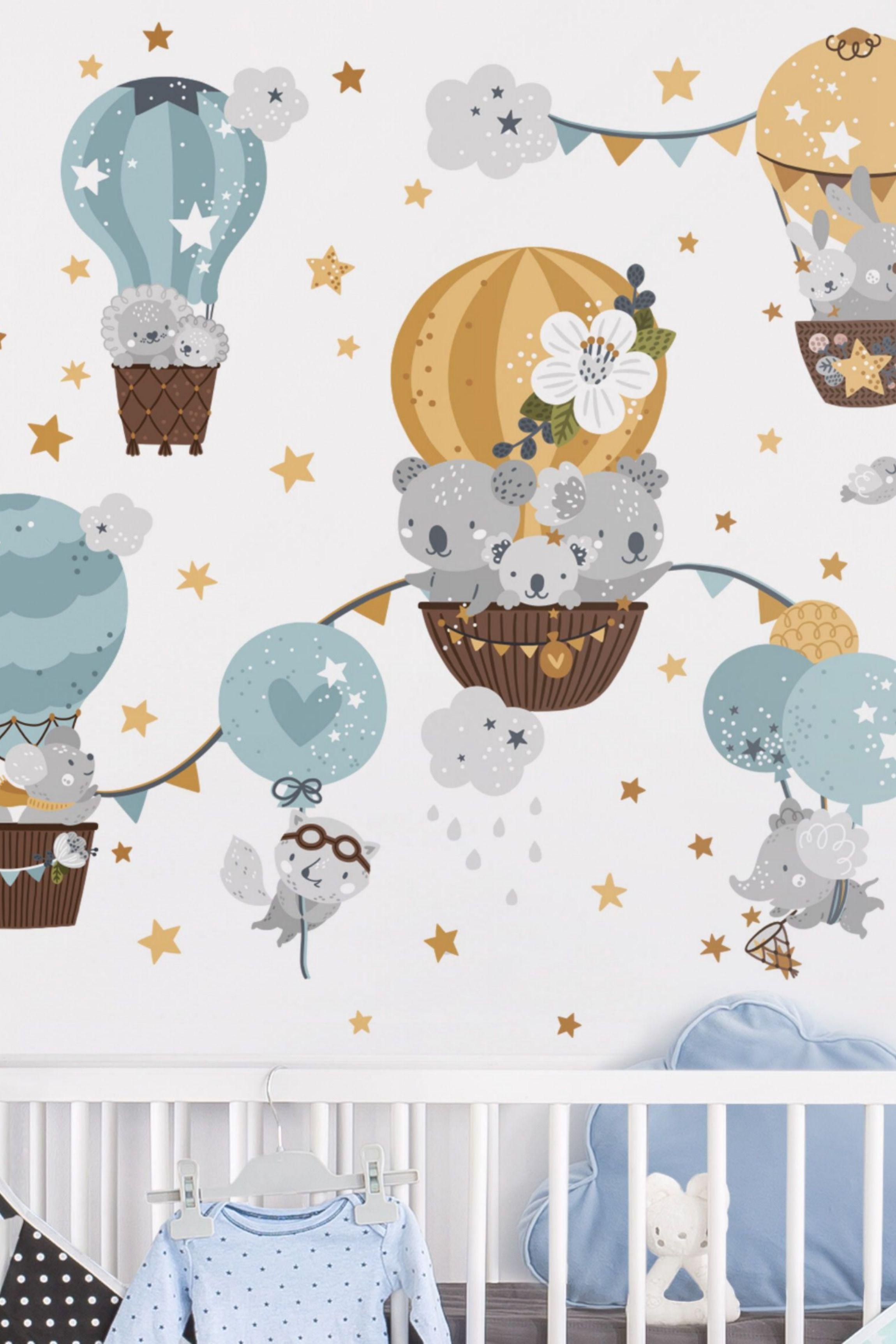 Wandtattoo Pastell Tiere mit Luftballons Wanddeko Set