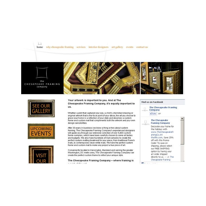 The website we created for Chesapeake Framing Company | Websites ...
