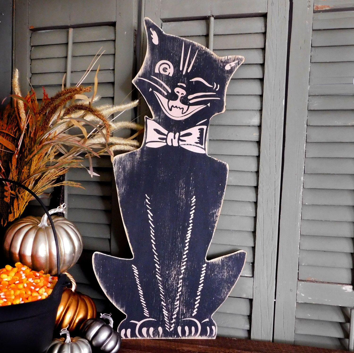 retro halloween cat halloween decor large scale vintage style halloween cat wooden wall decor by slippinsouthern - Vintage Style Halloween Decorations