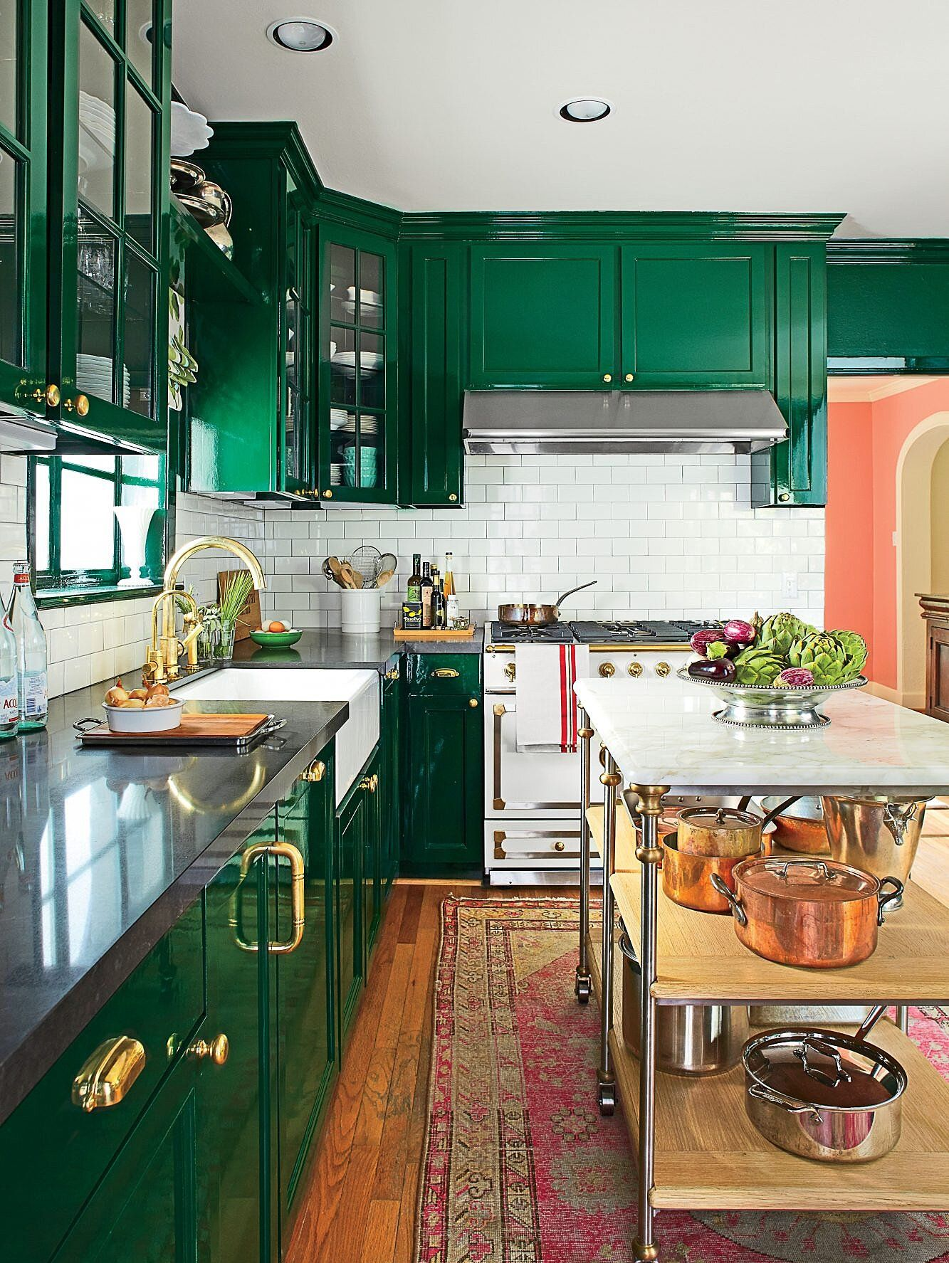 Best Makeovers Of All Time In 2020 Eclectic Kitchen Beautiful Kitchen Cabinets Green Kitchen Cabinets