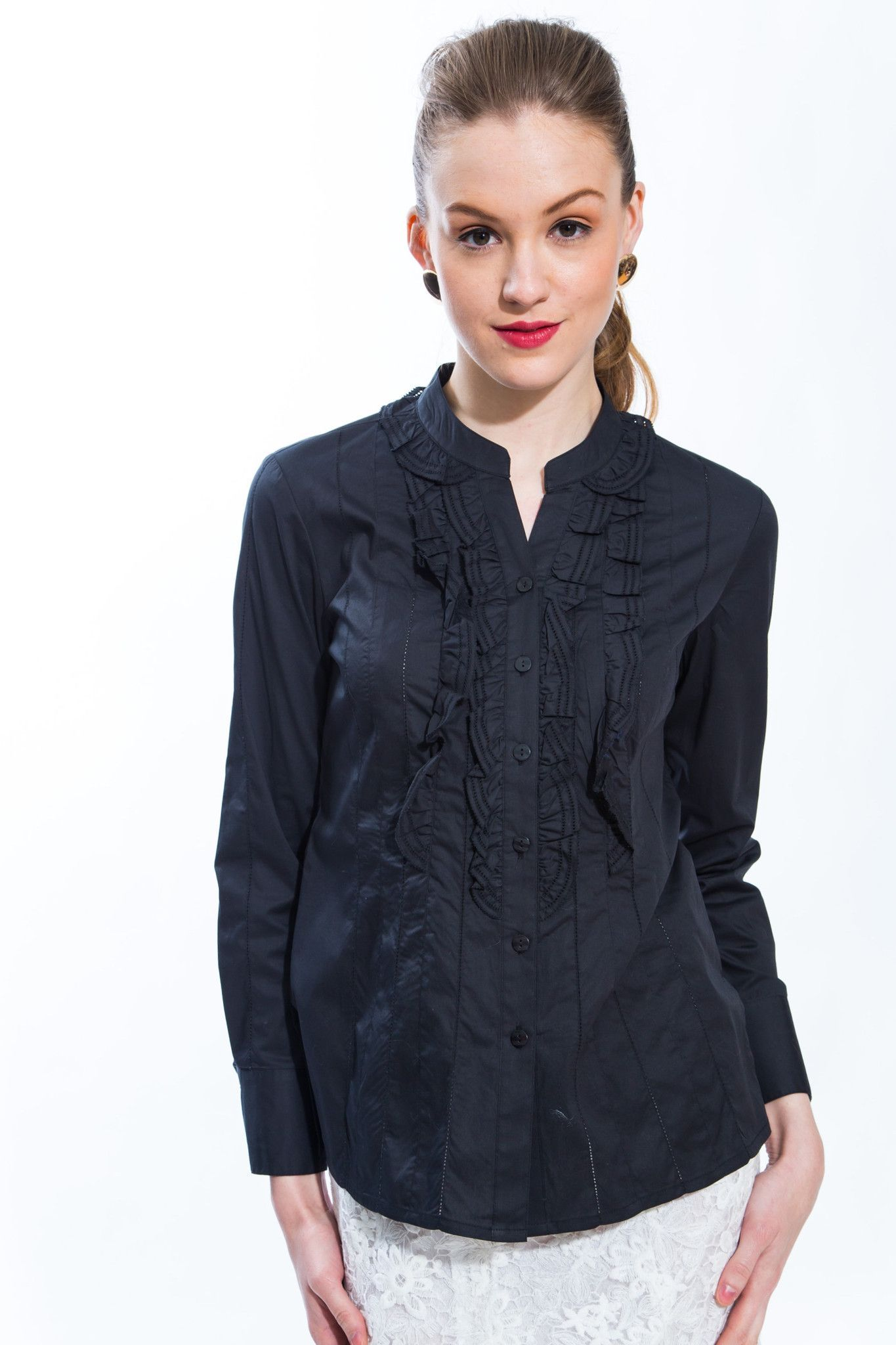 Ruffle Front Cotton Blouse (Black) Style 8143 | Ruffle, Products ...