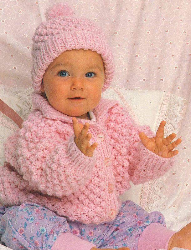 207c7214762a 1 of 1  Popcorn Stitch Baby Jacket   Hat 18
