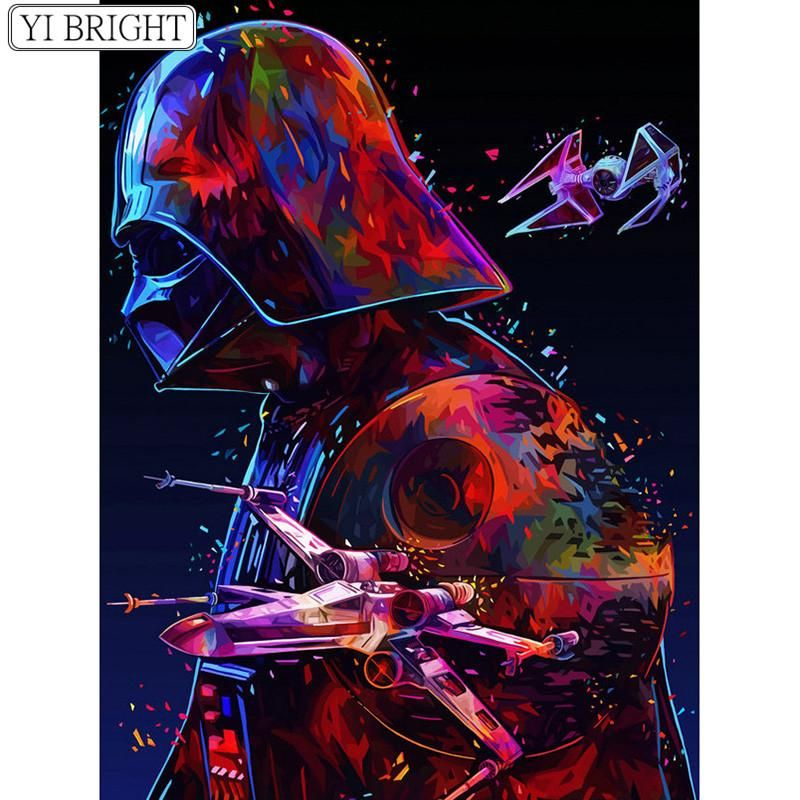 Darth Vader 5d Diamond Painting Full Square Round Drill Abstract Diamond Art Star Wars Art Star Wars Tribute Star Wars Poster