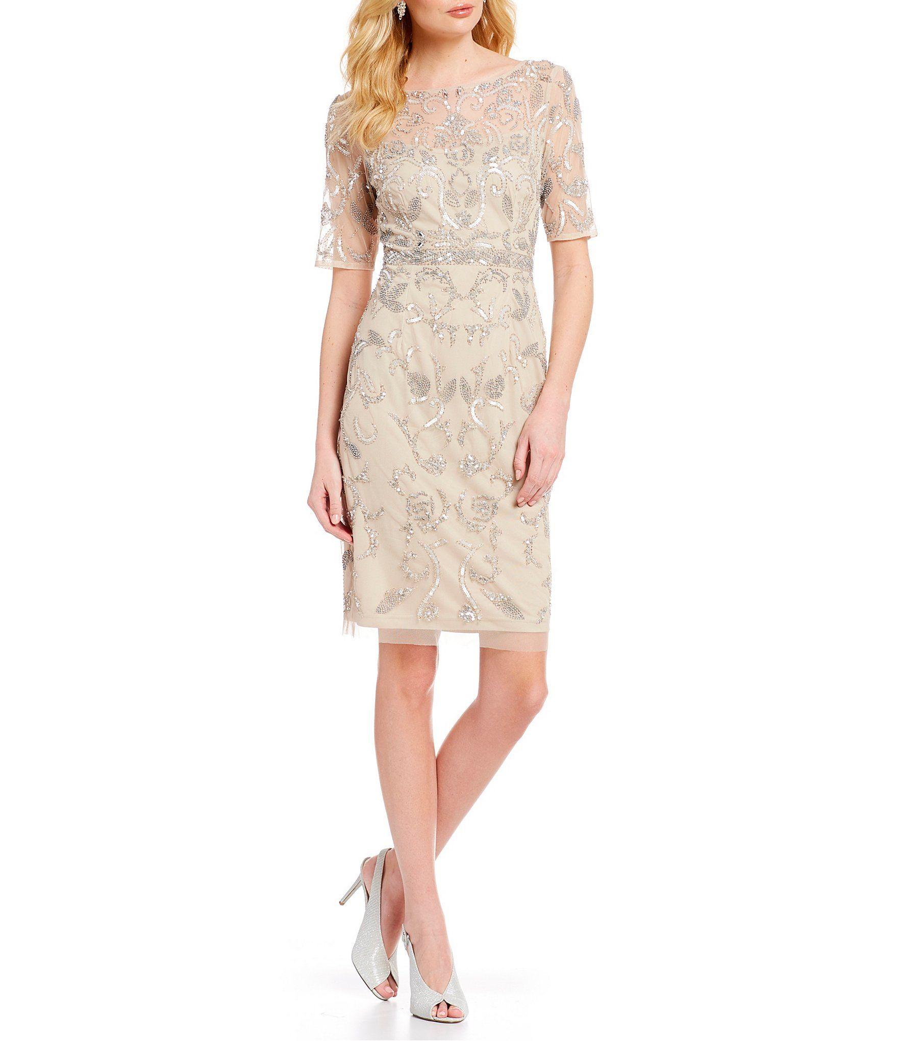 Adrianna Papell Beaded Mesh Short Sleeve Sheath Dress Dillard S Women Wedding Guest Dresses Womens Wedding Dresses Dresses [ 2040 x 1760 Pixel ]