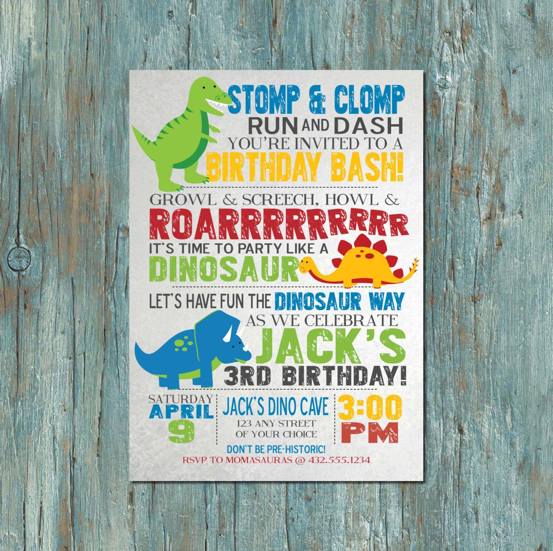 Dinosaur Birthday Party Invitation by shortyitsurbirthday on Etsy