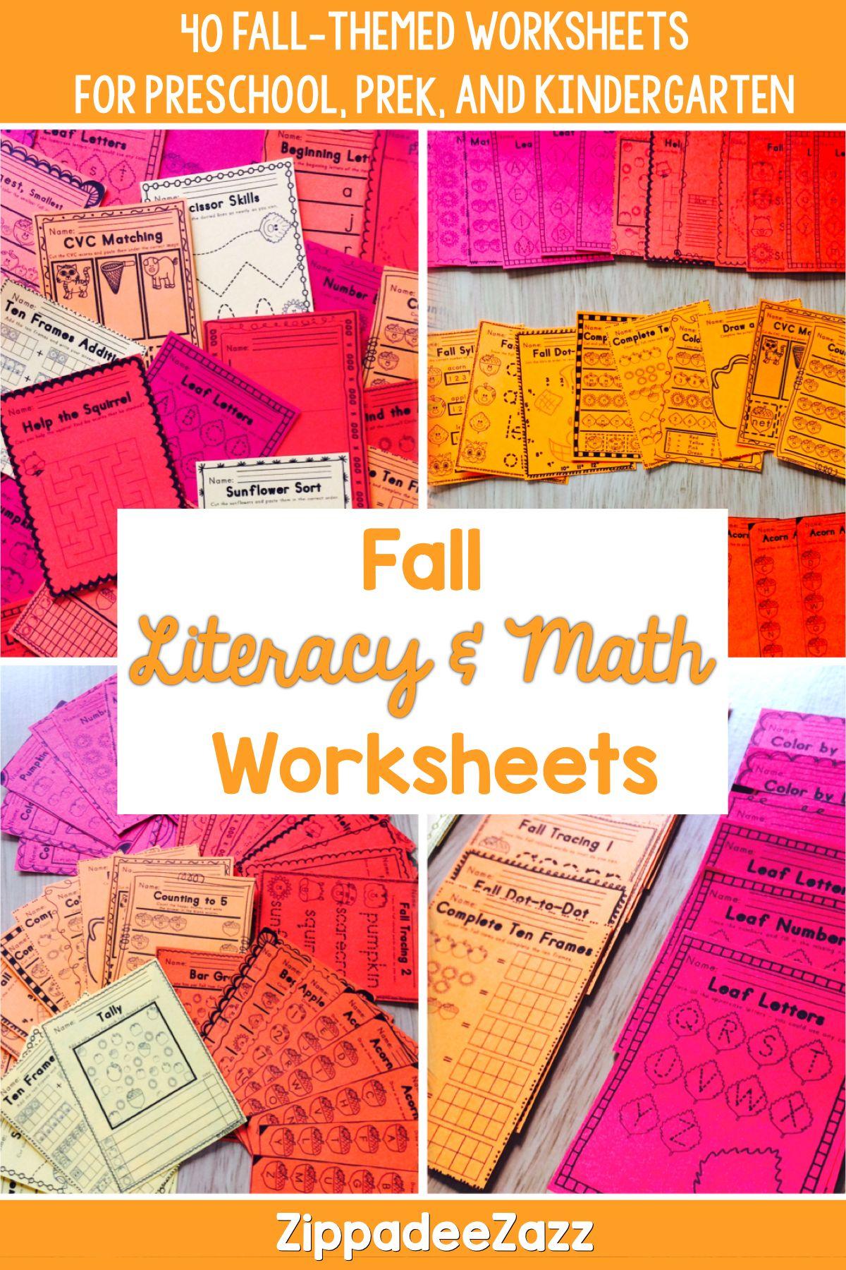 Worksheets For Fall Ela Literacy And Math By Zippadeezazz Teachers Pay Teachers Fall Kindergarten Activities Fall Kindergarten Math Activities [ 1800 x 1200 Pixel ]