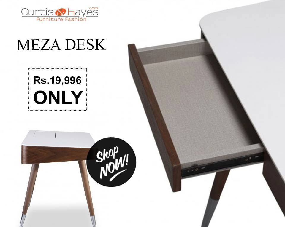 Resting On Four Splayed Chrome Finished Legs The Meza Desk Is Comprised Of A Rectangular Tabletop