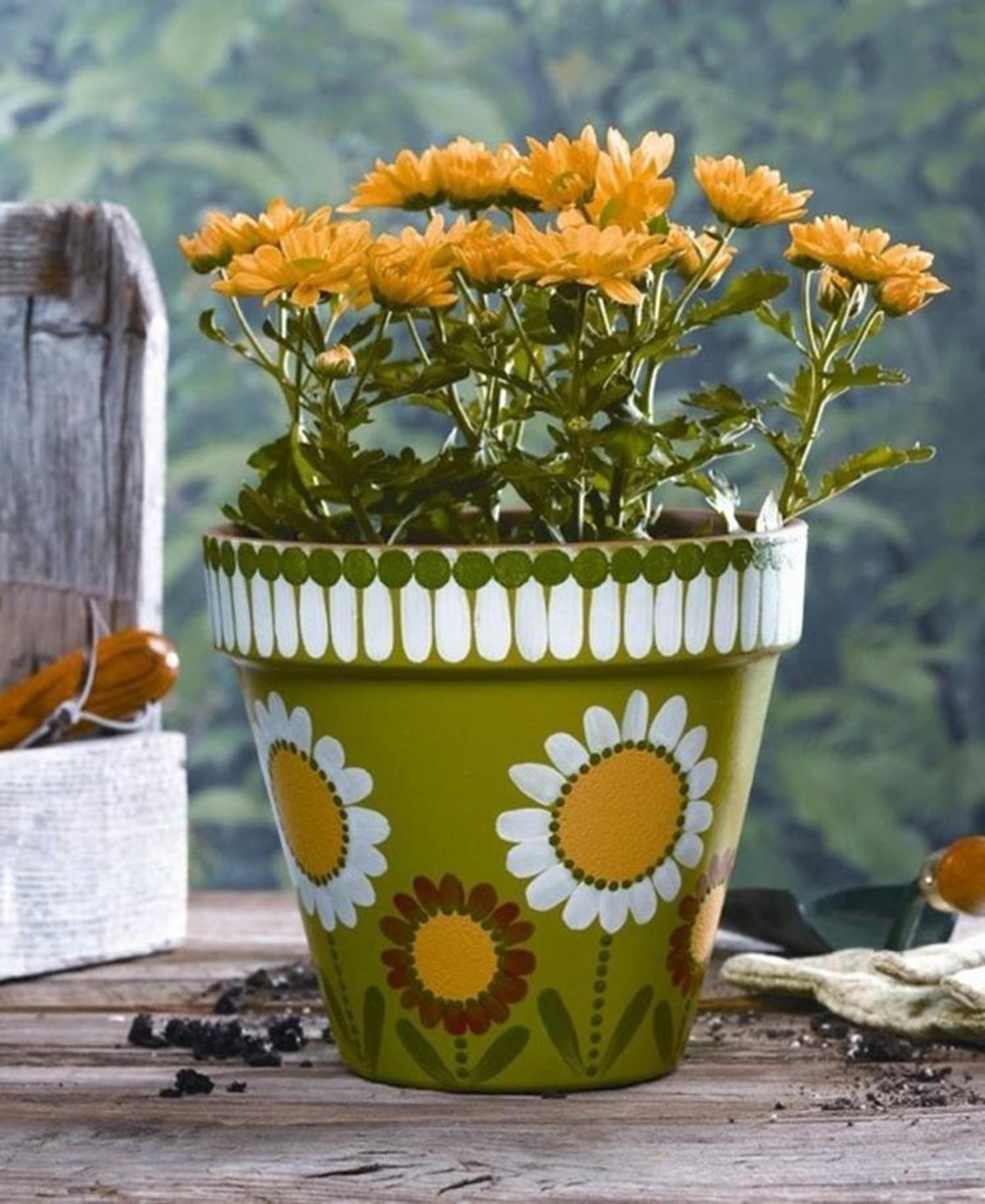25 Simple Easy Flower Pot Painting Ideas Craft Home Ideas Painted Flower Pots Clay Flower Pots Flower Pot Design,Flower Easy Ganesh Rangoli Designs For Diwali