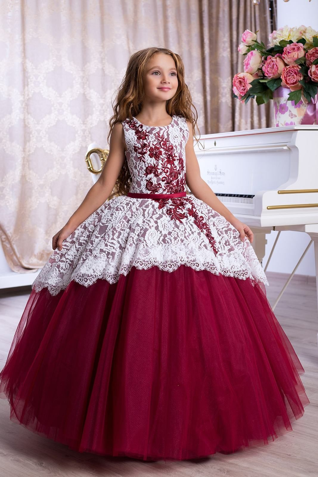 Girls Kids Lace Chiffon Ball Gown Wedding Bridesmaid Party Prom Birthday Dress