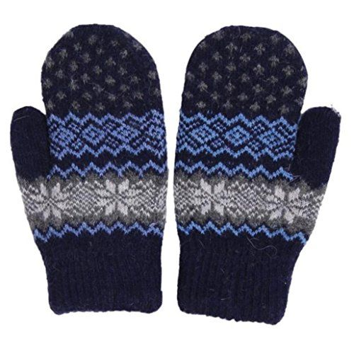 Vovotrade Women Girl Snowflake Winter Keep Warm Mittens Gloves Navy * Check out the image by visiting the link. (This is an affiliate link)