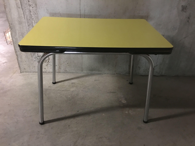 Table En Formica Jaune Annees 60 De La Boutique Arnaudveylon Sur Etsy Dining Table Folding Table Table