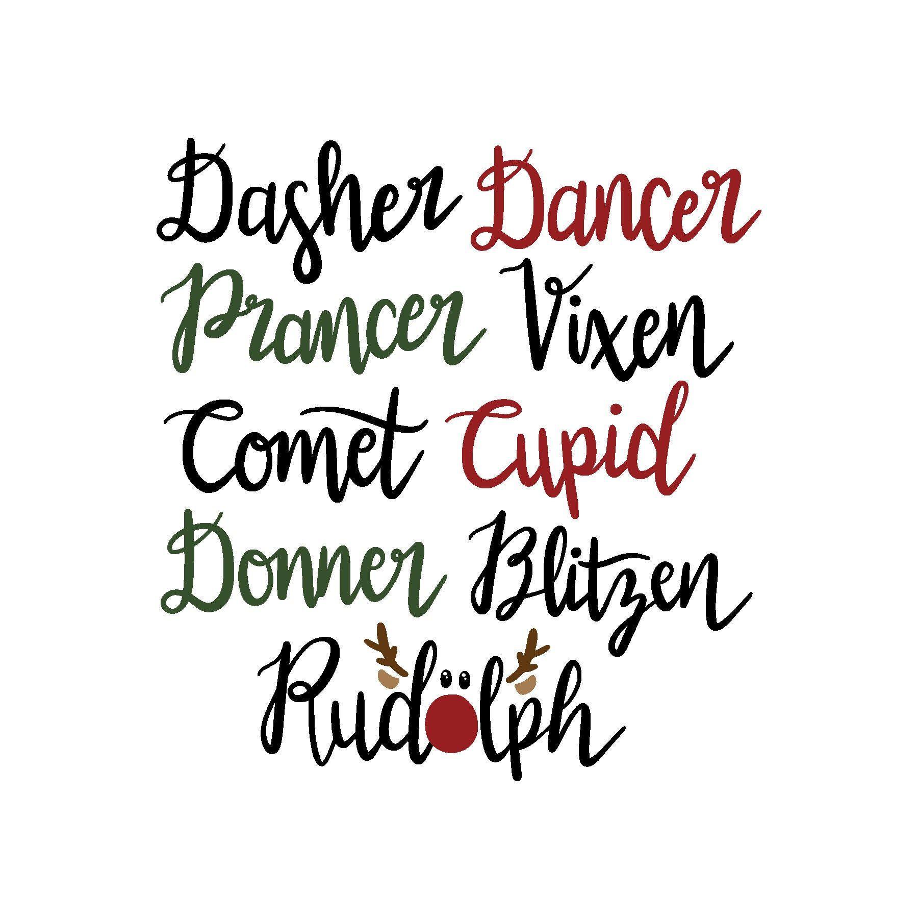 Reindeer Names SVG Reindeer names, Cricut christmas