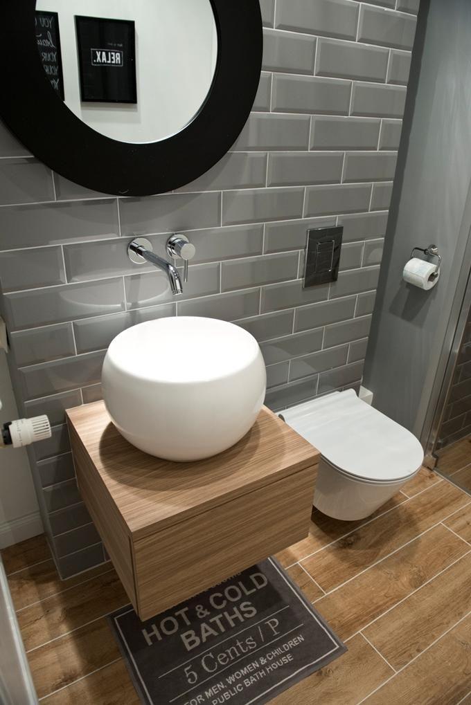 Nowoczesna łazienka I Szare Kafelki Na ścianie Interiors