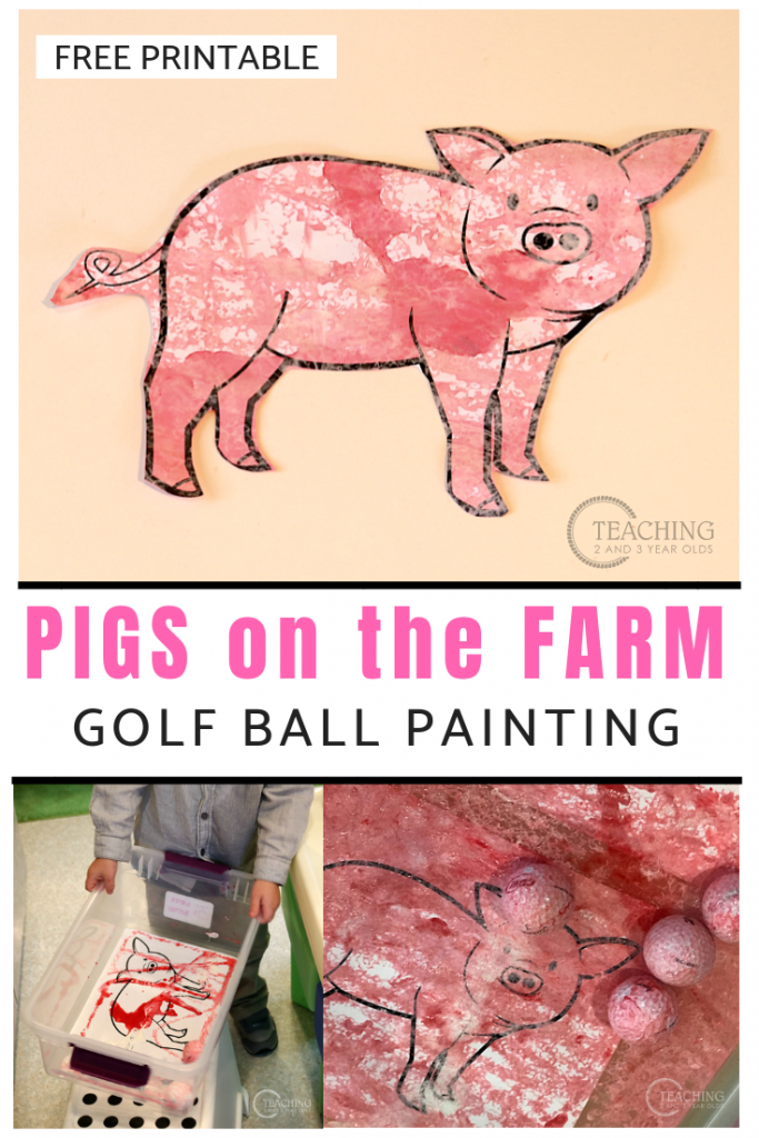 Toddler Farm Pigs Painting Activity Using Golf Balls is part of Pig painting, Golf ball crafts, Painting activities, Farm preschool, Pig farming, Golf ball - Add some process art with this fun farm pigs painting activity! Comes with a free printable, too!