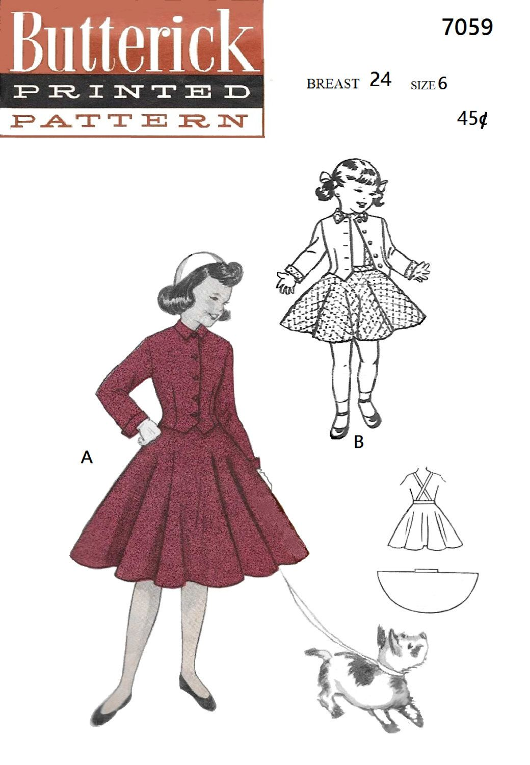 Butterick 7059 girls 50s fitted suit full circle skirt sewing butterick 7059 girls 50s fitted suit full circle skirt sewing pattern size 6 jeuxipadfo Gallery