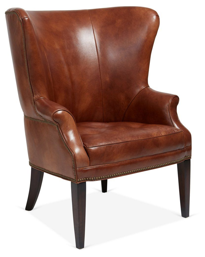 Willoughby Wingback Chair, Brown Leather   Mark D. Sikes   Brands One Kings  Lane
