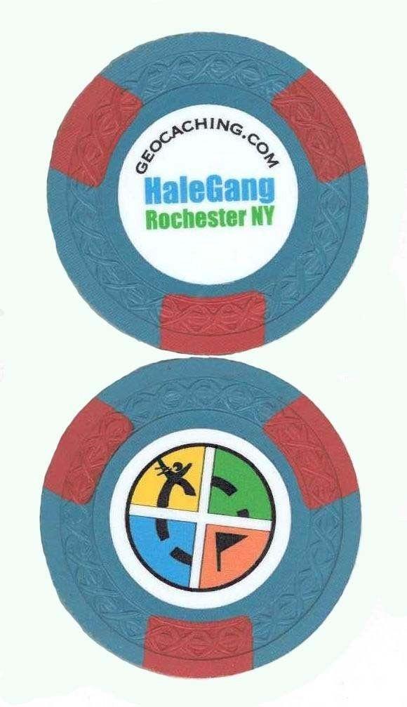 (TBH83W) Travel Bug Dog Tag HaleGang's Poker Chip Blue