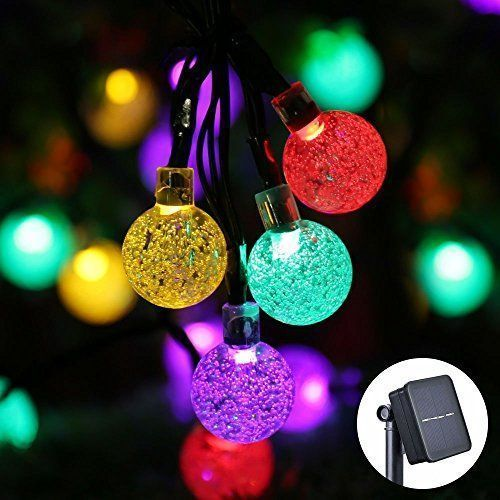 Icicle Solar Christmas Lights, 20ft 30 LED Solar String Lights - solar christmas decorations