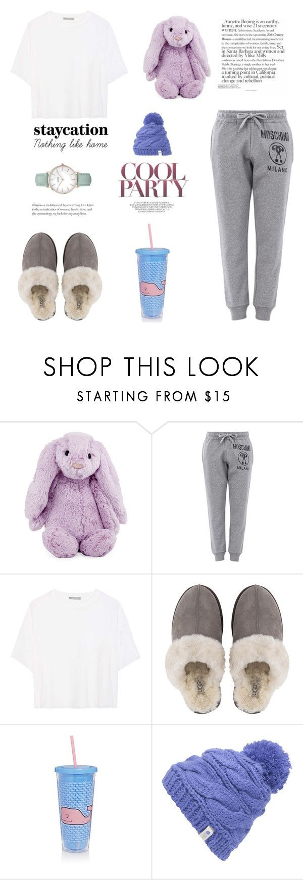 """""""Bunny Hole"""" by indigochameleon ❤ liked on Polyvore featuring Jellycat, Moschino, Vince, UGG, Sunnylife, The North Face and CLUSE"""