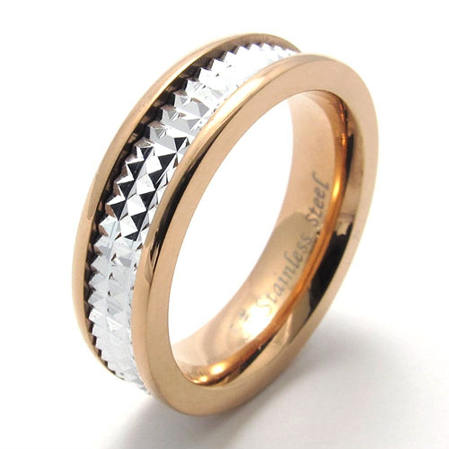 TEMEGO Jewelry Mens Womens Stainless Steel 2Tone Convex