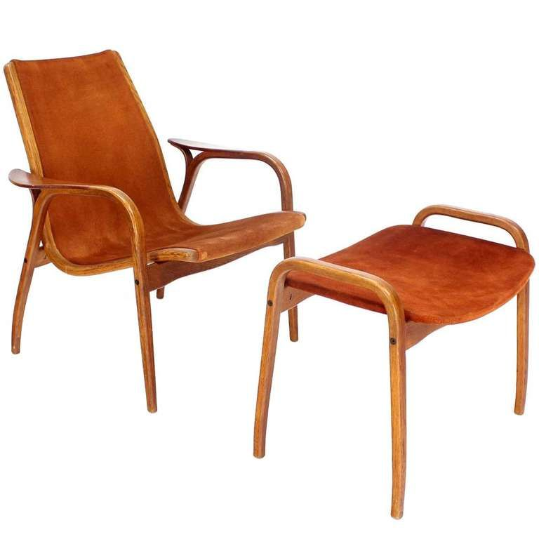 danish mid century modern suede lounge chair and ottoman by yngve