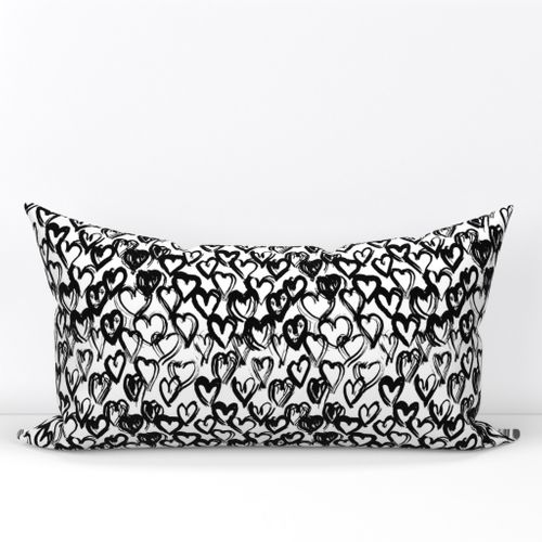 Colorful Fabrics Digitally Printed By Spoonflower Seamless Pattern Black White Heart Brush Strokes Lines Design Abstract Simple Scandinavian Style Background Lumbar Throw Pillow Black And White Heart Pillow Cover Design