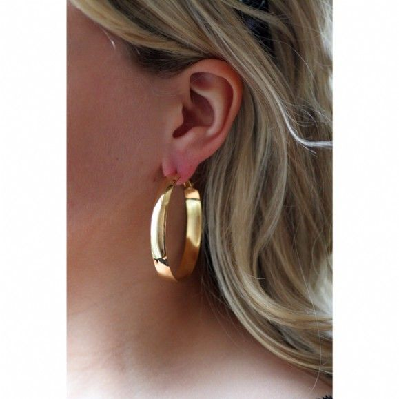 Brady S 2 Inch Flat Gold Hoop Earrings Only 22 95 Fantasy Jewelry Box