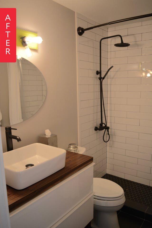 Basic Bathroom Ideas | Before After A Basic Bathroom Gets A Black White Look