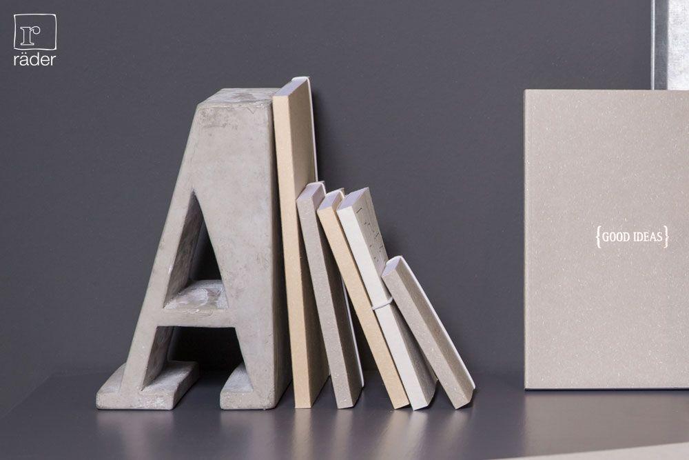 Auch starke Bücher benötigen ab und an eine Schulter zum anlehnen. Beton Buchstützen von räder. http://www.raeder-onlineshop.de/index.php?lang=0&cl=search&searchparam=Buchst%FCtzen