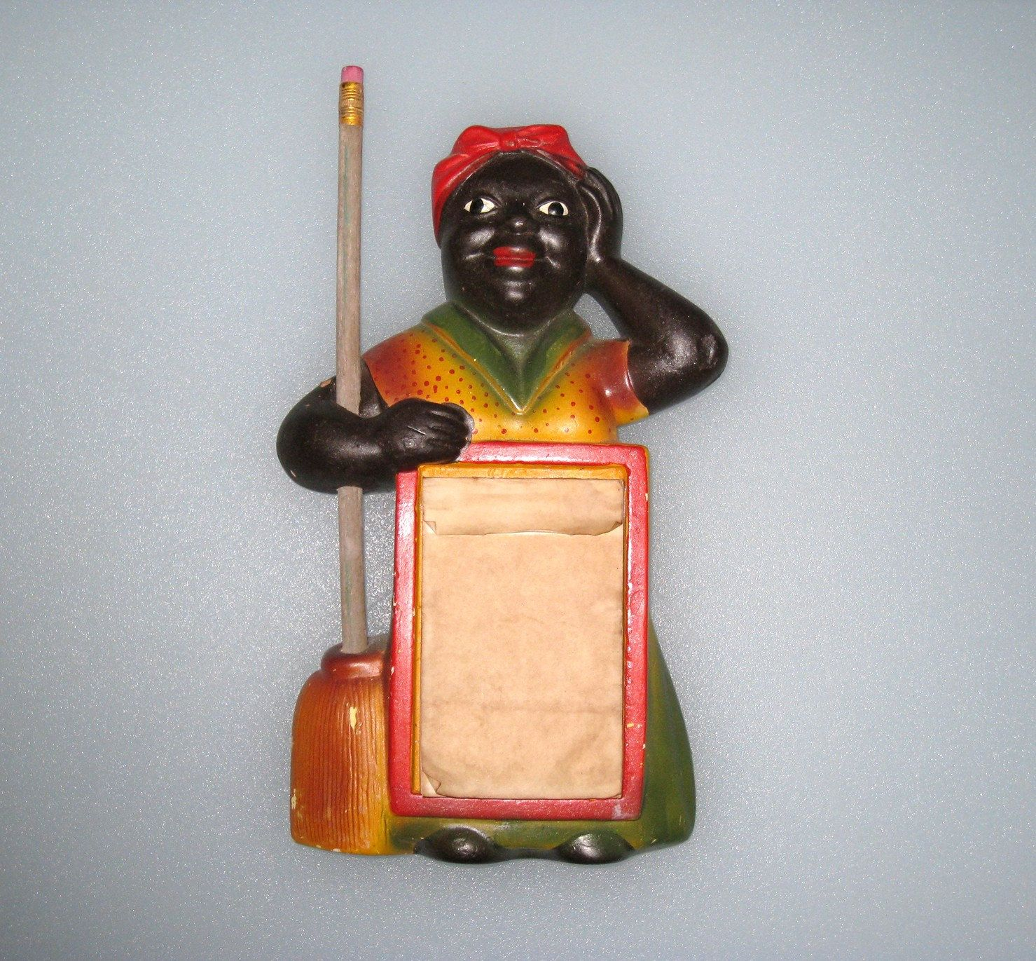 Aunt Jemima Kitchen Curtains Old Fashioned Faucets 1954 Black Americana Mammy Chalkware Notepad W Pencil