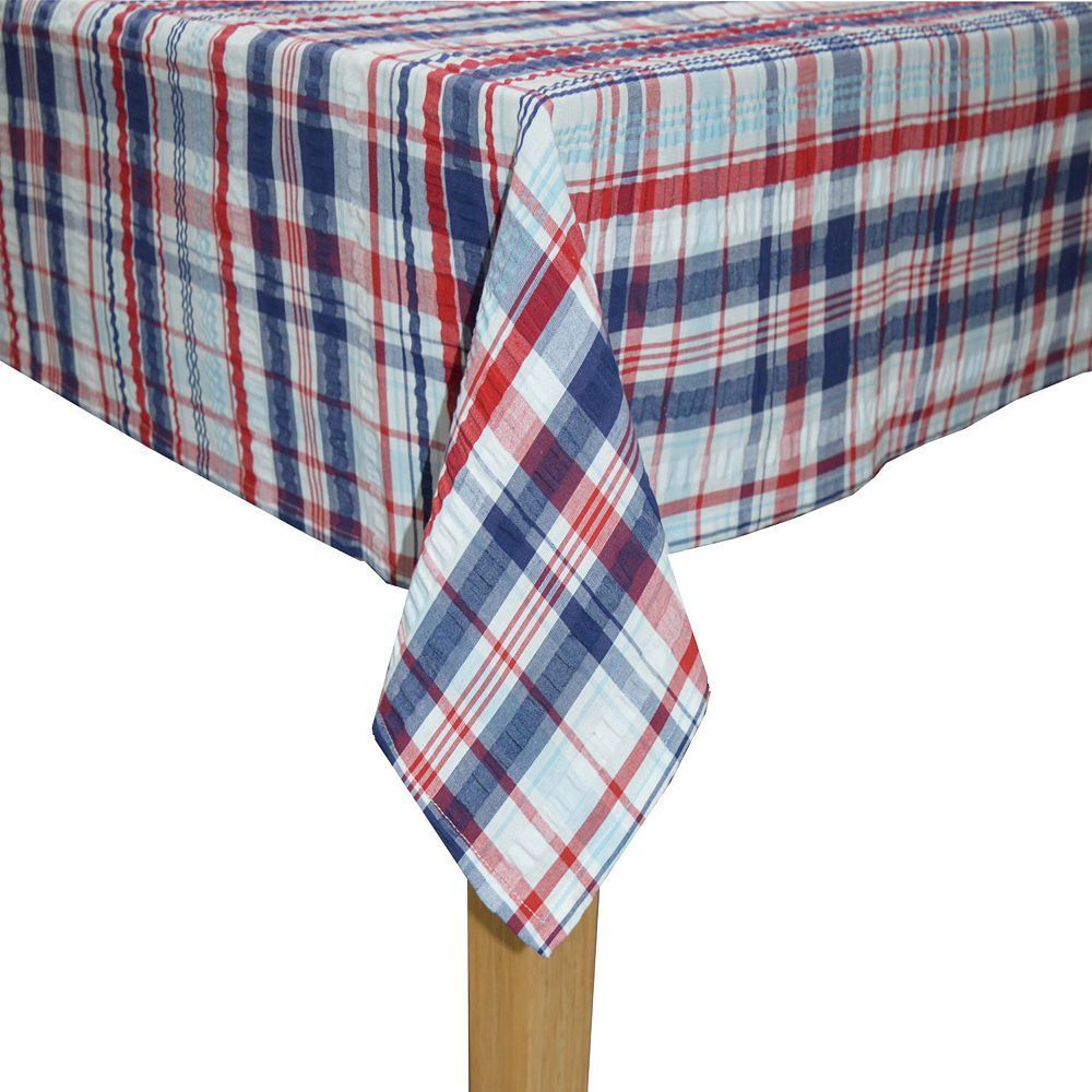 Exceptional Celebrate Americana Together Seersucker Plaid Tablecloth, Multicolor