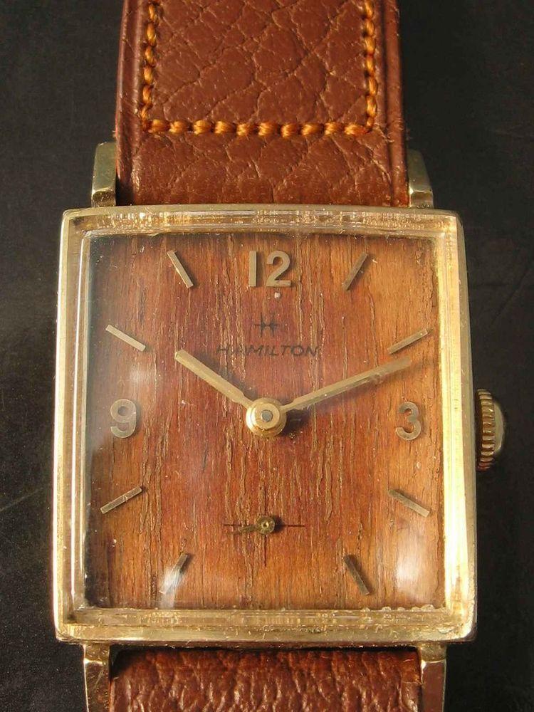 "1962 Hamilton Sherwood ""S"" wood dial - very rare Gold filled rectangle case #hamilton #vintage"
