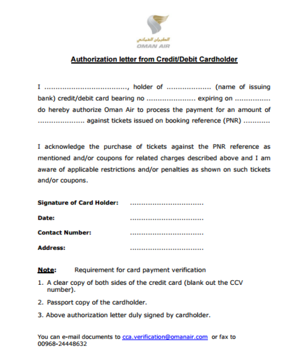 Credit Card Authorization Letter Writing Professional Letters
