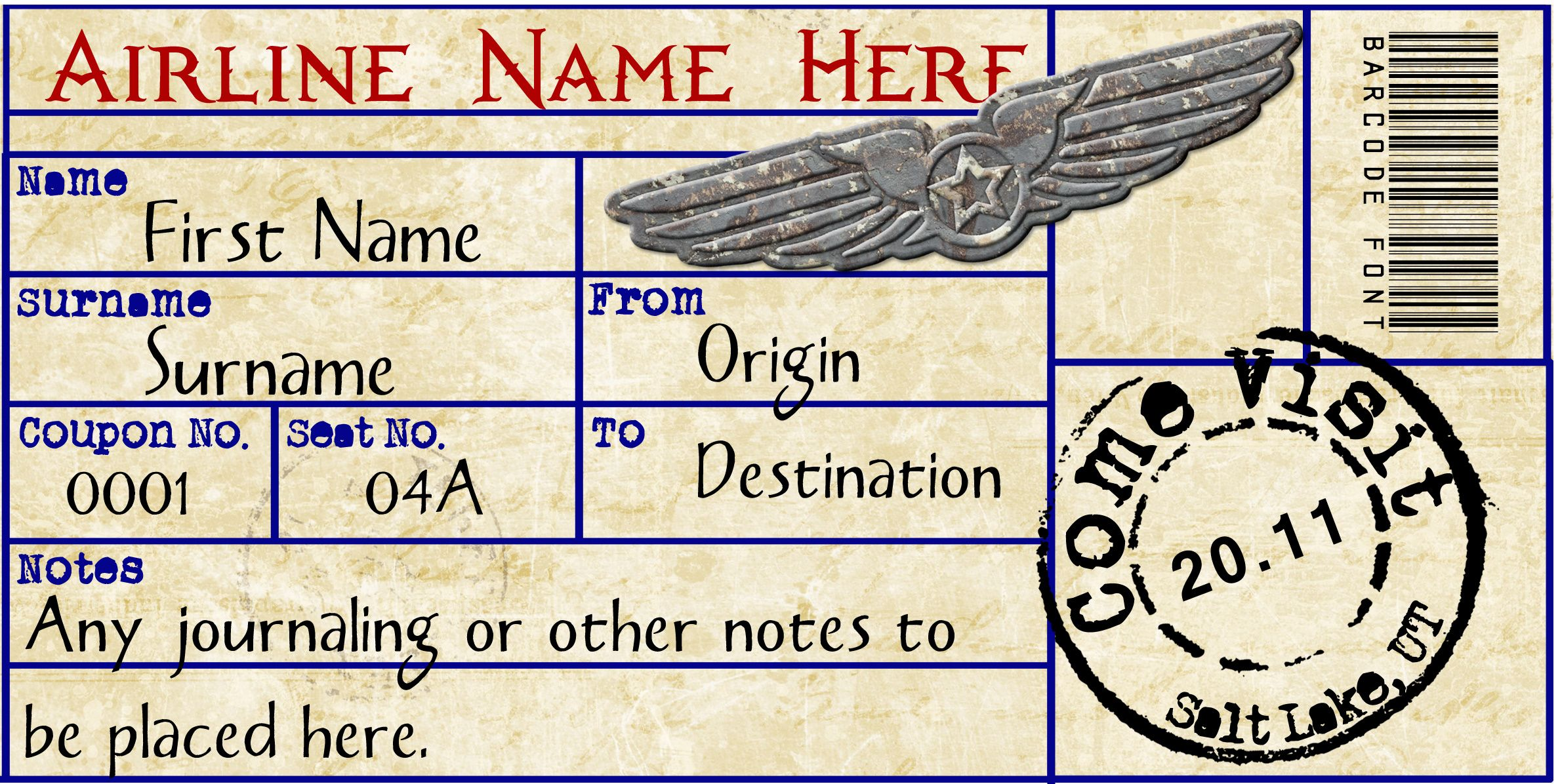 Airplane Ticket  Airline Ticket Template Word