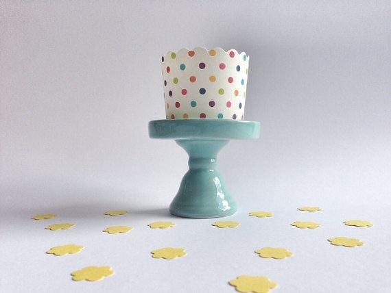 Alzatina porta cupcake in ceramica turchese  /  by Partytude, €5.80