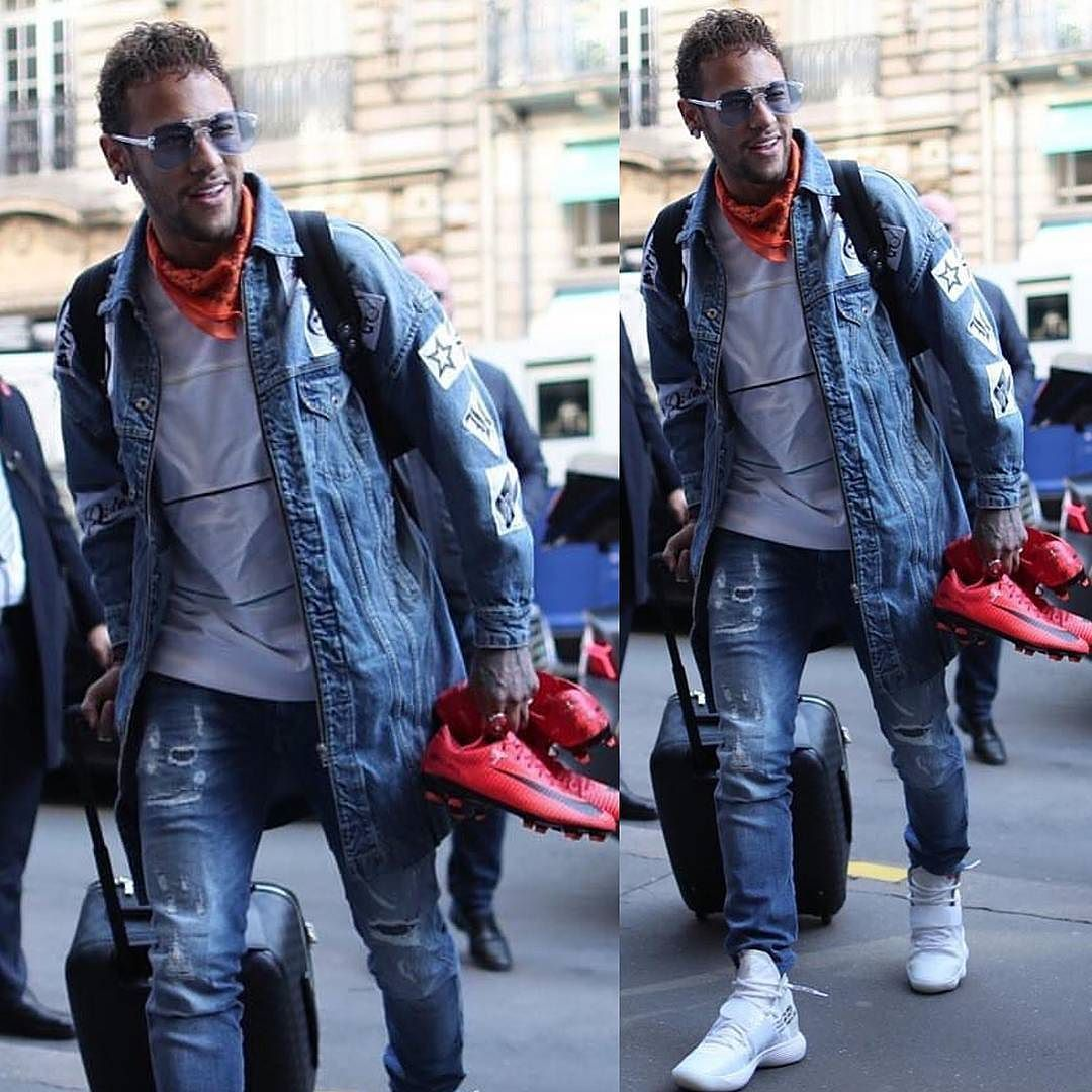 39681dc9755  PSG footballer  NeymarJr clothed in  Replay denim pieces paired with  OffWhite  x  Nike Hyperdunk sneakers. Feeling the fit   morethanstats