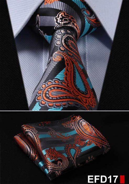 Irvint /& Co Orange Paisley Silk USA Mens Classic Necktie With Pocket Square And Cufflinks Set Wedding