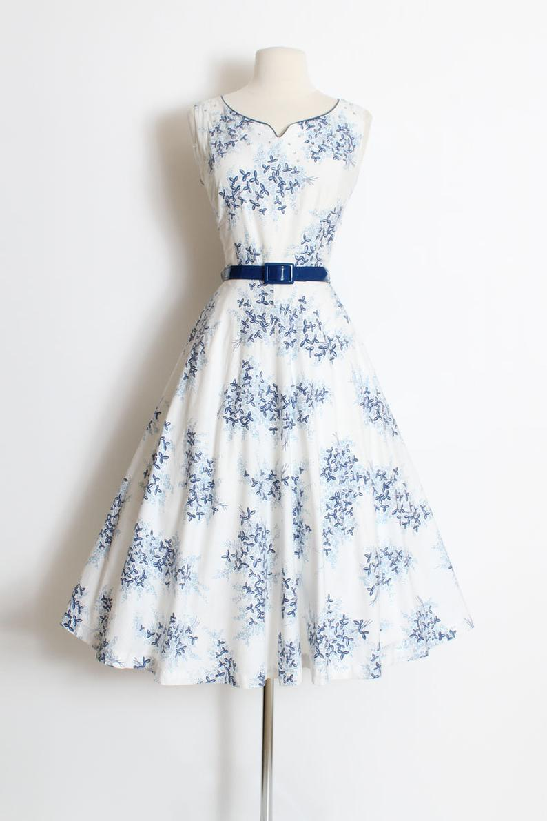 Vintage 1950s 50s Dress White Blue Floral Rhinestone Belted Etsy 50s Fashion Dresses Vintage Inspired Outfits Gorgeous Dresses [ 1191 x 794 Pixel ]
