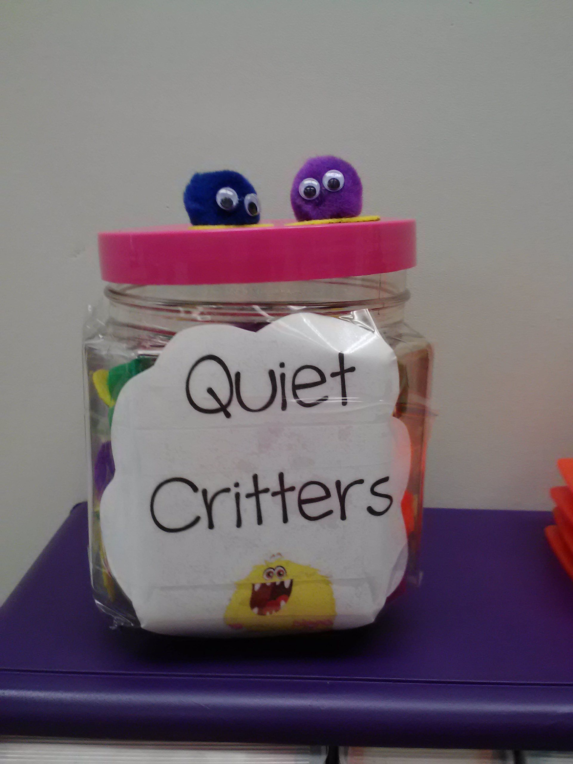 Quiet Critters: pompoms, googlie eyes, and felt feet. Works wonders in prompting quiet workers in the classroom! #quietcritters Quiet Critters: pompoms, googlie eyes, and felt feet. Works wonders in prompting quiet workers in the classroom! #quietcritters