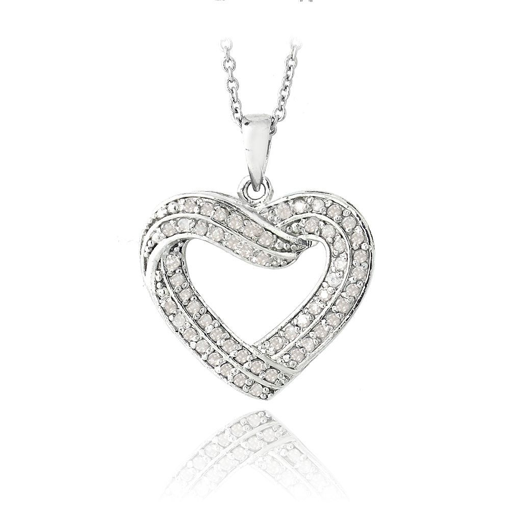 This gorgeous necklace features 50 genuine white round diamond stones on a heart design. The pendant dangles off an 18-inch rolo chain and shines with a high polished finish.
