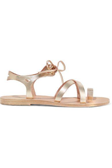 VALIA GABRIEL Grace Metallic Leather Sandals. #valiagabriel #shoes #sandals