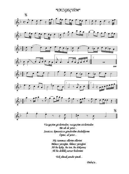 Ney Im Basligi Goruntule Vaz Gectim Nota Sezen Aksu Notalara Dokulmus Muzik Flut Muzik Notalari