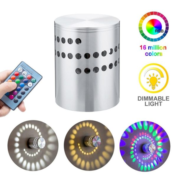 Colorful Rgb Spiral Hole Led Wall Light With Remote Leloye Led Wall Lights Led Wall Lamp Wall Lamp