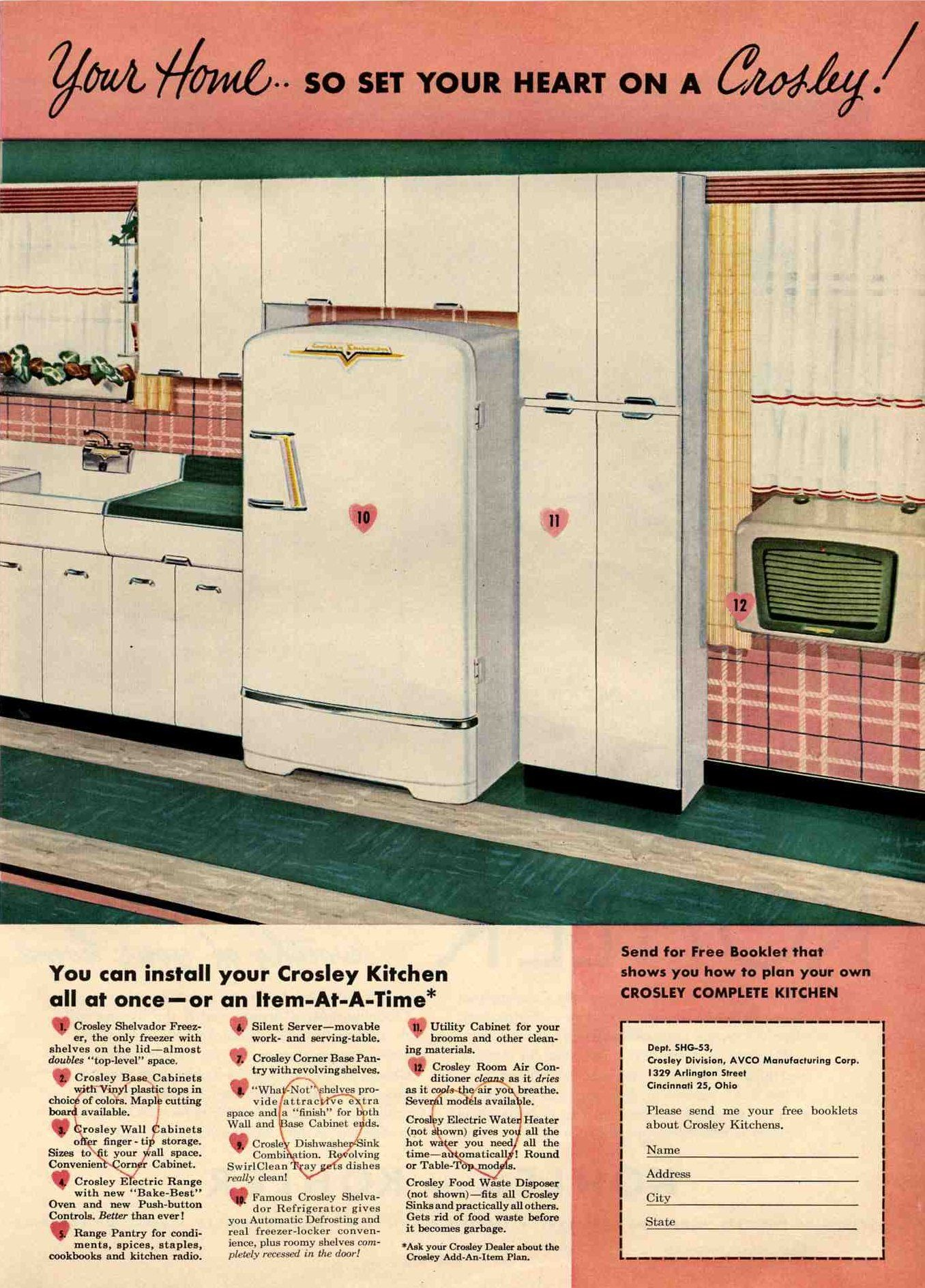 white aluminum kitchen cabinets | ... for her vintage 1953 Crosley ...