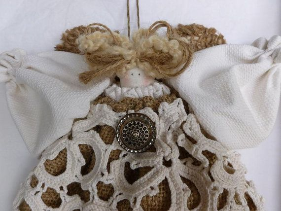 CHRISTMAS TREE TOPPER Angel Doll Burlap Vintage Crocheted Doilie by LilyAnnsAttic, $40.00