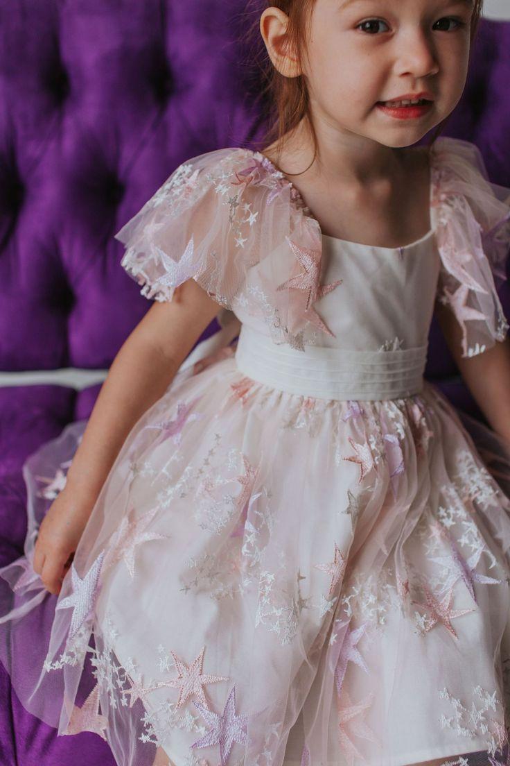 Little Girl's Pink Tulle Star Dress Cute flower girl