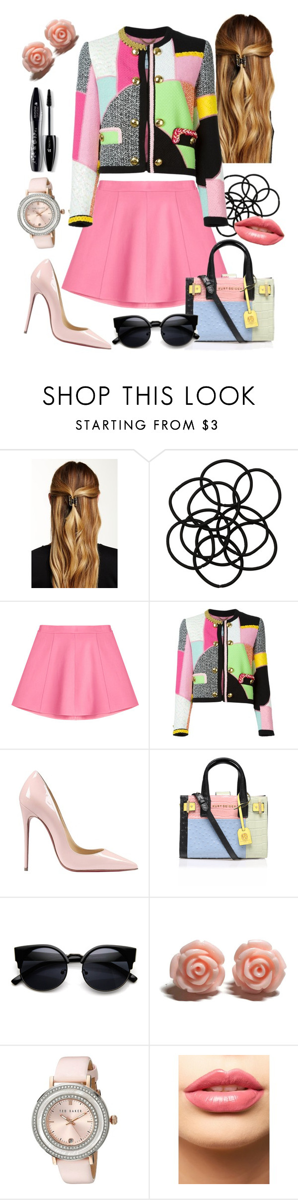 """""""Untitled #613"""" by harrypottergirl41229 ❤ liked on Polyvore featuring Natasha Accessories, Monki, RED Valentino, Moschino, Christian Louboutin, Kurt Geiger, Ted Baker, LASplash, Lancôme and women's clothing"""