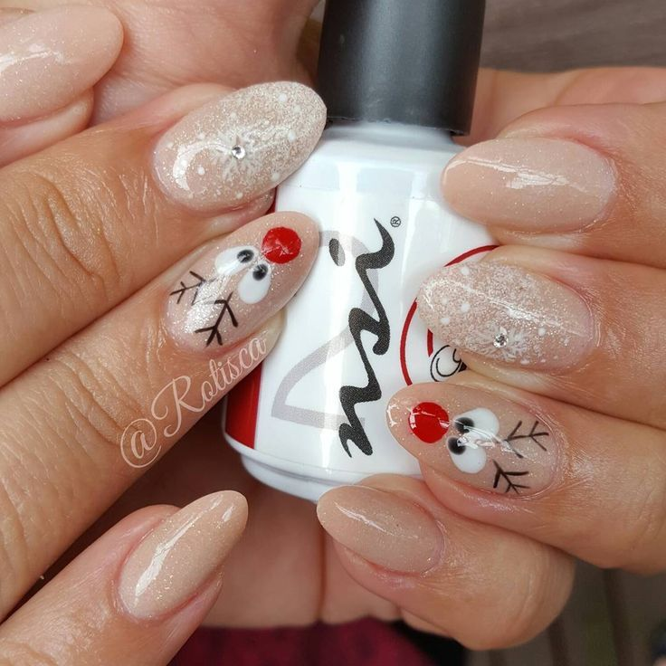 Festive Reindeer Nails! This Gel Nail Polish Mani Is super cute for the holiday… – Winter Glam Nails #holidaynails
