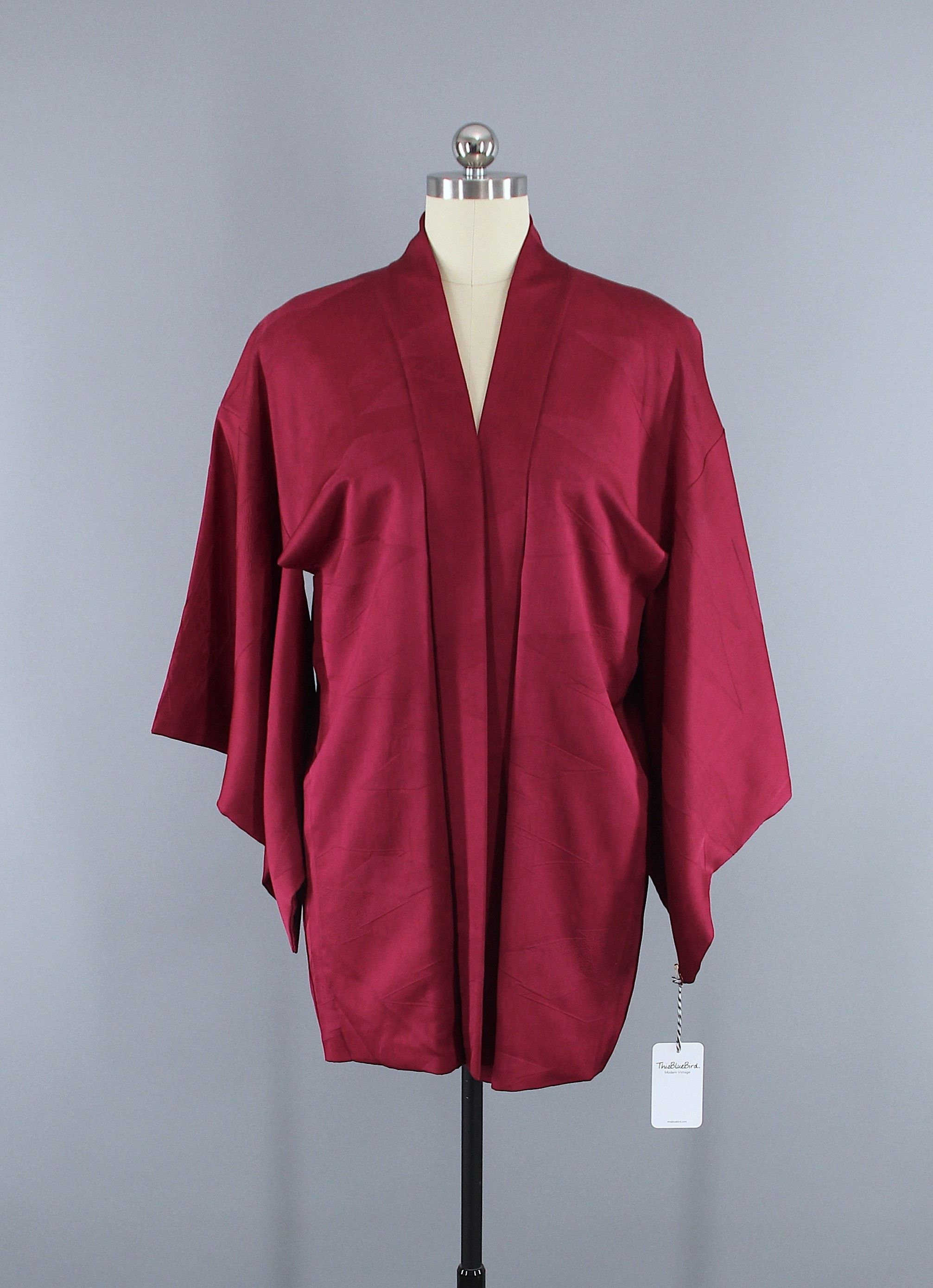 1950s Vintage Silk Haori Kimono Jacket Cardigan / Cranberry Maroon ...