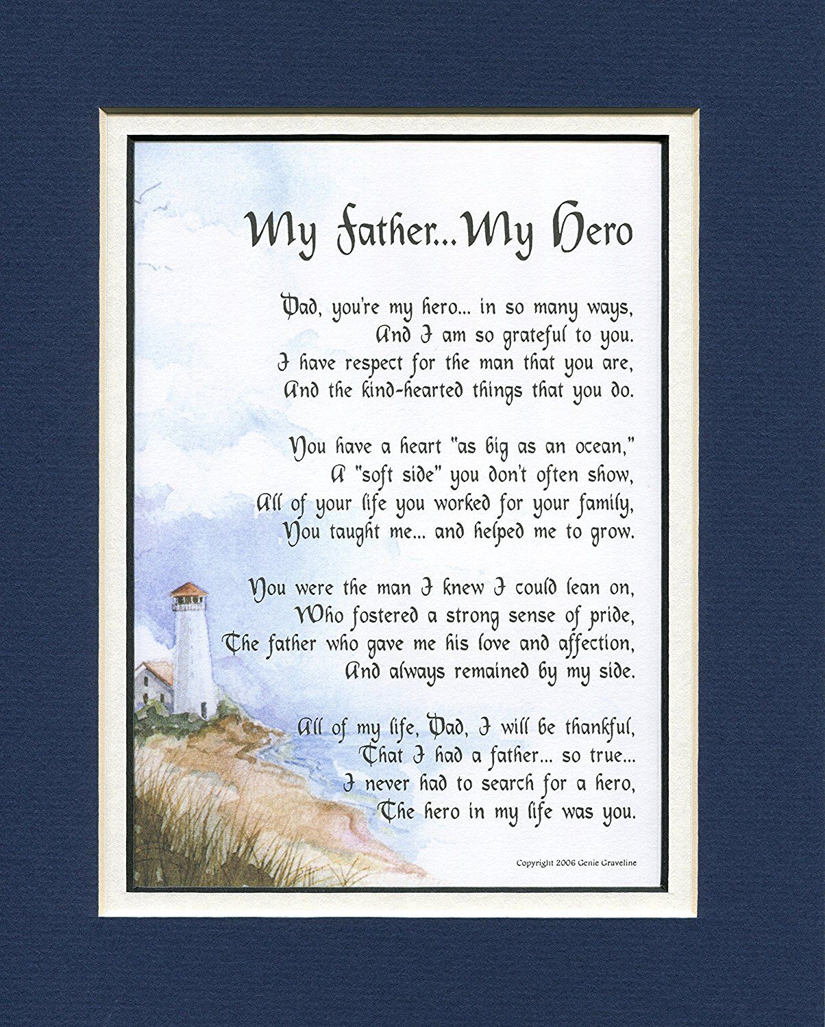 My Father Hero 18 A Birthday Gift For Dad Poem 50th 60th 65th 70th 80th